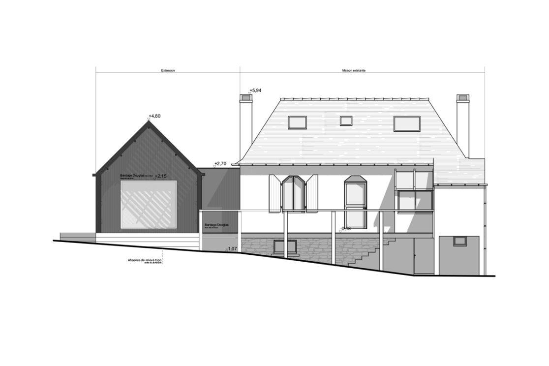 Extension d 39 une maison d 39 habitation calc architectes for Plan complet d une maison d habitation