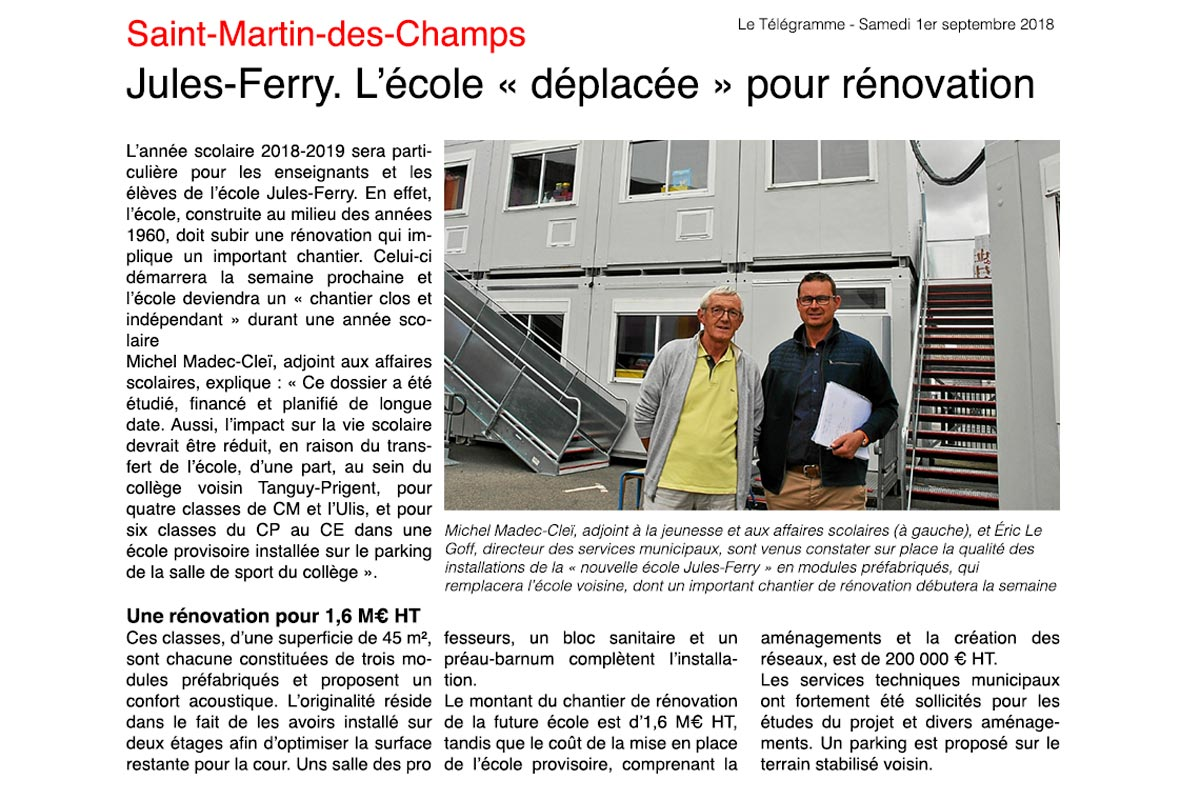 Renovation jules ferry morlaix telegramme 010918
