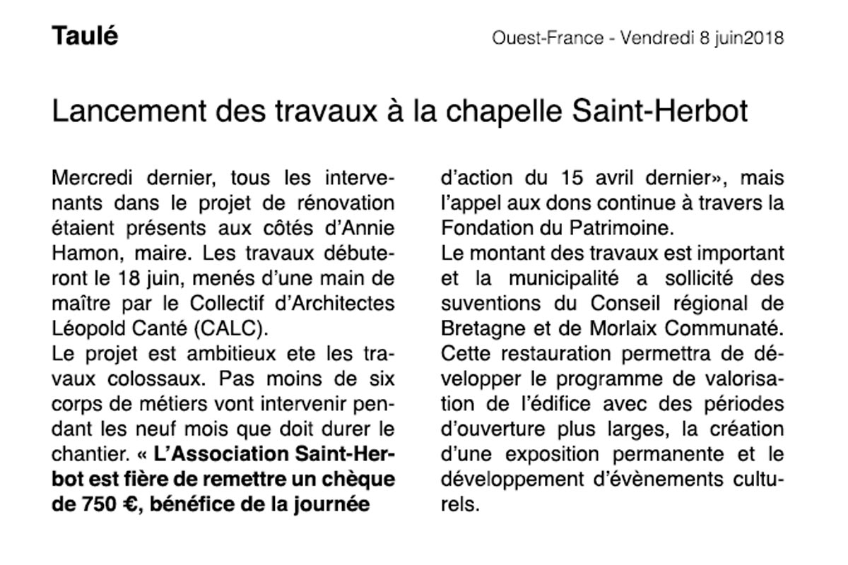 rénovation chapelle saint-herbot taule article ouest-france