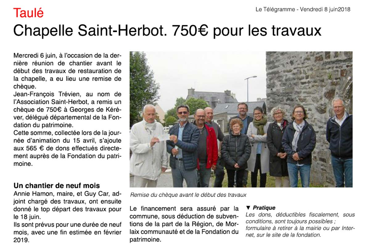 rénovation chapelle saint-herbot taule article le télégramme