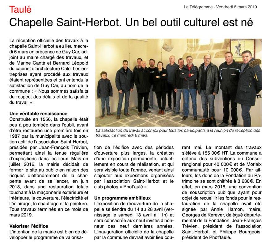 Restauration Saint-Herbot dans le Télégramme