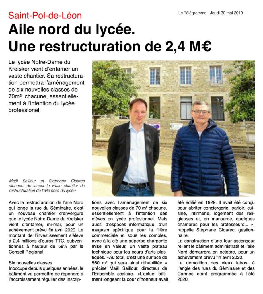 Restructuration lycée Kreisker article Télégramme