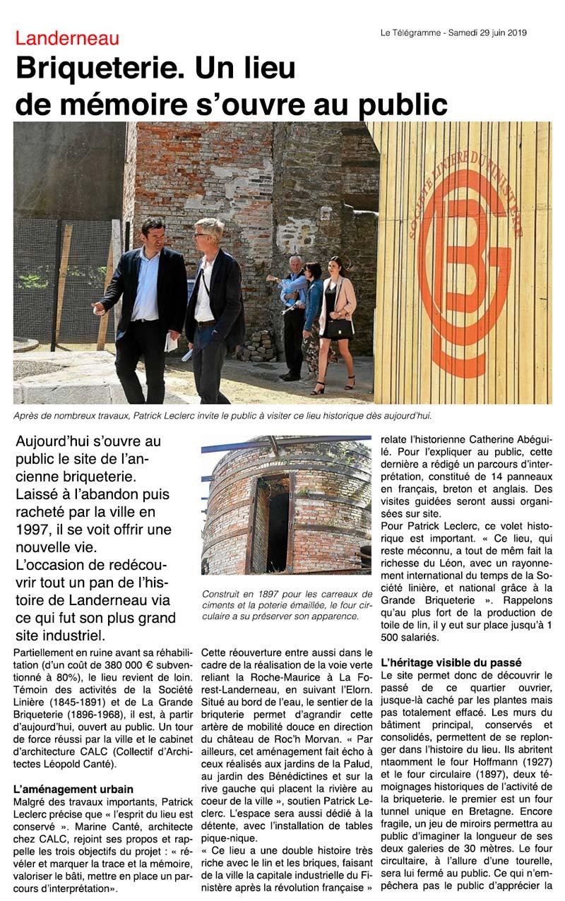 inauguration de la grande briqueterie de Landerneau article du télégramme
